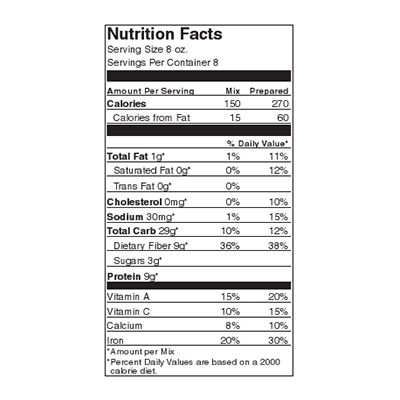 Blacksmith's Black Bean Chili Nutrition Label