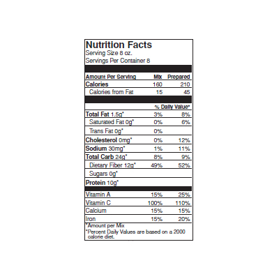 Mi Madre Maria's Chicken Tortilla Nutrition Label