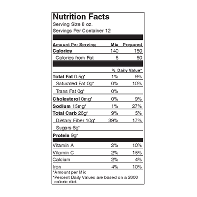 Pioneer Split Pea Nutrition Label