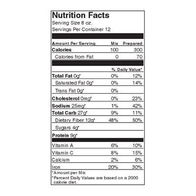 Fireside Supper Bean Nutrition Label