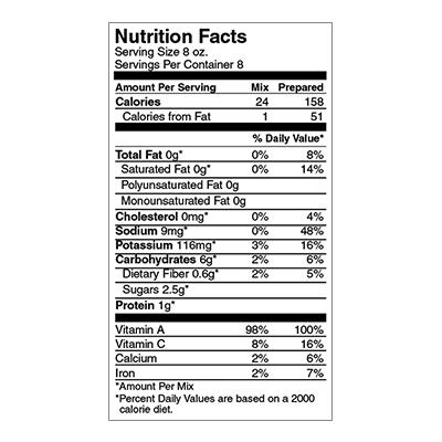 Sweet Annie's Butternut Squash Bisque Nutrition Label