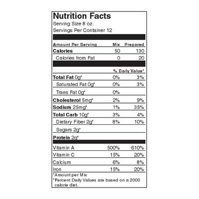 Yankee Doodle Chicken Noodle Nutrition Label