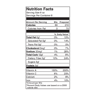 Colonel Maxwell's Minestrone Nutrition Label