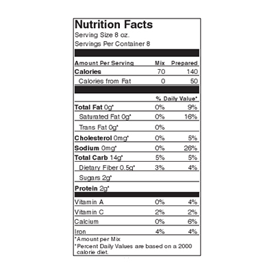 Ten Shilling Sherried Mushroom Nutrition Label