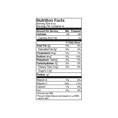 Henna Marie's Potato Cheese Soup Nutrition Label