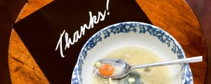 Thank You note and Soup Bowl